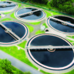 sewage treatment plant aerial view