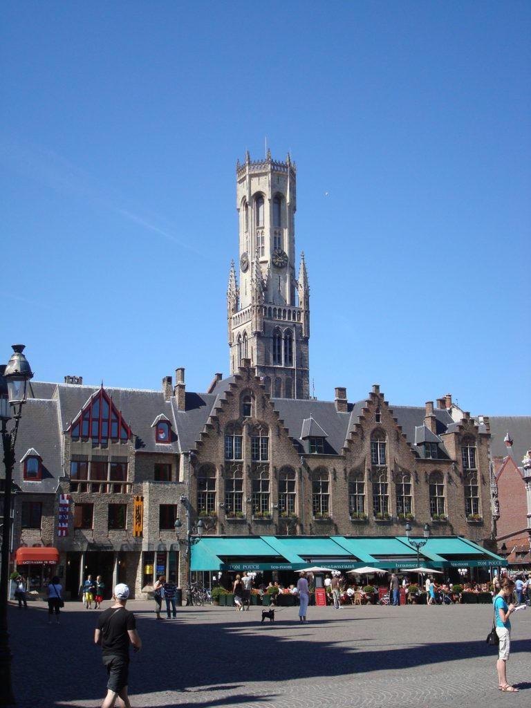 bruges old building with clock tower